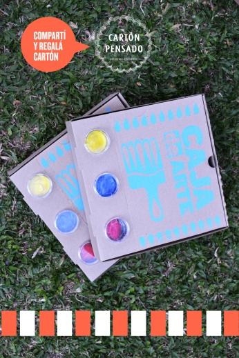 Contiene: 3 recipientes de acrílico con témpera 2 pinceles 1 trapo absorvente 1 placa de cartón 3 broches 10 hojas blancas